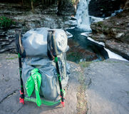 Backpack On The Rocks Royalty Free Stock Photos
