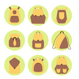Backpack rucksack set. Backpack set. Stock vector illustration of rusksack city bag collection for students, tourists, hipsters. Flat style Stock Images