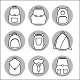 Backpack rucksack set. Backpack set. Stock vector illustration of rusksack city bag collection for students, tourists, hipsters. Flat style Royalty Free Stock Photo
