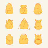 Backpack rucksack set. Backpack set. Stock vector illustration of rusksack city bag collection for students, tourists, hipsters. Flat style Royalty Free Stock Image