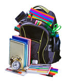 Backpack for school stationery learning Stock Photo