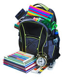 Backpack for school stationery learning isolated royalty free stock image