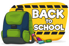 Backpack with School Supplies for Back To School Season, Vector Illustration Royalty Free Stock Photography