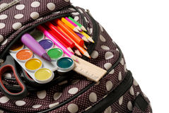 Backpack with school supplies. close-up Royalty Free Stock Photo