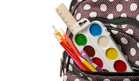Backpack with school supplies. close-up Royalty Free Stock Images