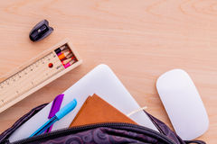 Backpack with school supplies Stock Image