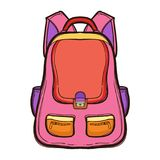 Backpack with school supplies. School bag. Standing isolated on white background. Hand drawn illustration equipment for education. Art College supplies Royalty Free Stock Photos