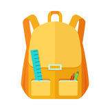 Backpack Schoolbag Icon with Notebook Ruler Stock Photos