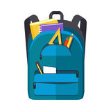Backpack Schoolbag Icon with Notebook Ruler Royalty Free Stock Photos