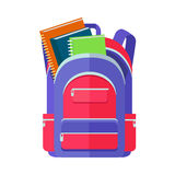 Backpack Schoolbag Icon with Notebook Ruler. Backpack schoolbag icon in flat style. Hiking backpack. Kids backpack with notebook and ruler, education and study Royalty Free Stock Image