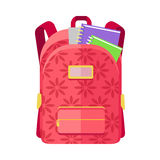 Backpack Schoolbag Icon with Notebook Ruler Royalty Free Stock Photo