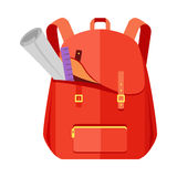 Backpack Schoolbag Icon with Notebook Ruler Stock Photography