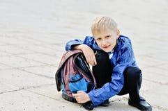 backpack schoolboy Στοκ Εικόνες