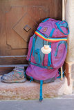 Backpack and shoes, as a symbol of the Way of St-James Stock Photography