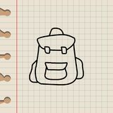 Backpack sketch icon. Element of education icon for mobile concept and web apps. Outline backpack sketch icon can be used for web. And mobile on school notebook Royalty Free Stock Photo