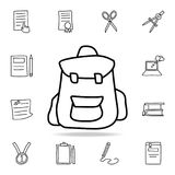 Backpack sketch icon. Element of education icon for mobile concept and web apps. Outline backpack sketch icon can be used for web. And mobile on white Royalty Free Stock Photos