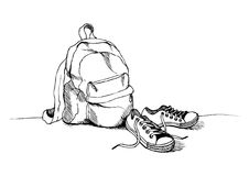 Backpack and sneakers sketch. Clothes for traveling. stock illustration