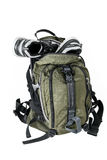 Backpack with sneakers on a white background Stock Photography