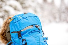 Backpack in the snowy forest. Close-up back view on the woman with blue backpack on the snowy forest background Stock Photo