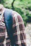 Backpack Strap For Traveling On Shoulder Of Unrecognizable Traveler Close Up Hiking Journey Travel Trek Concept. Backpack Strap For Traveling On The Shoulder Of royalty free stock image