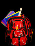 Backpack with supplies Royalty Free Stock Photo