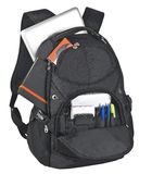Backpack With Supplies. On white background Royalty Free Stock Images