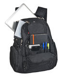 Backpack With Supplies. On white background Stock Photo