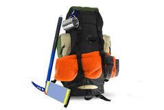 Backpack with tourist equipment  on white Royalty Free Stock Image
