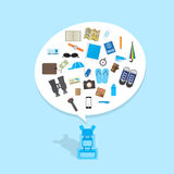 Backpack with travel icon in bubble speech Royalty Free Stock Photo