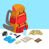 Backpack with travel kit accessories isometric design Stock Photo