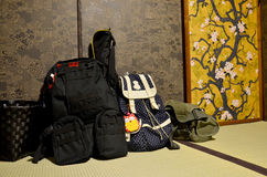 Backpack of traveler put down at room japanese style Stock Photo