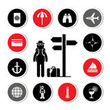 Backpack traveler vector icon set Royalty Free Stock Photos