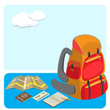 Backpack and traveling accessories Royalty Free Stock Photos