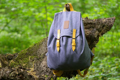 Backpack on the tree. Handmade backpack on the tree photographed close-up Royalty Free Stock Photos