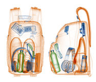 Backpack under xray Stock Photo