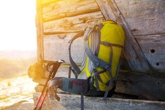 The backpack and walking sticks. Royalty Free Stock Photography