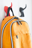 Backpack on the wall Stock Image
