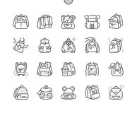 Backpack Well-crafted Pixel Perfect Vector Thin Line Icons 30 2x Grid for Web Graphics and Apps. Simple Minimal Pictogram Royalty Free Stock Images