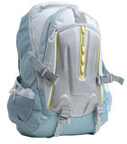 Backpack on white. Blue backpack isolated on white Stock Photo