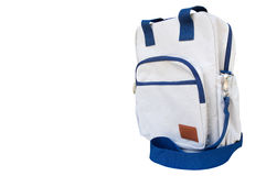 Backpack. White and blue isolated on white background. clipping path in picture Stock Images