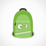 Backpack with a wicked snout. Backpack with a wicked muzzle for boys, green,  format Stock Photo