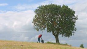 Backpacker που έχει το υπόλοιπο κάτω από το πράσινο δέντρο, ενεργός τρόπος ζωής, τουρισμός, διακοπές φιλμ μικρού μήκους