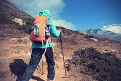 Backpacker женщины trekking на горах Гималаев Стоковые Фотографии RF