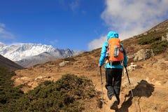 Backpacker женщины trekking на горах Гималаев Стоковые Изображения