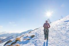 Backpacker женщины trekking на снеге на Альпах Вид сзади, образ жизни зимы, холодное чувство, звезда солнца в backlight Стоковая Фотография RF