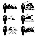 Backpacker путешественника приключения исследователя иллюстрация вектора
