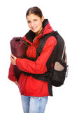 Backpacker. Full isolated studio picture from a young and happy backpacker Stock Image