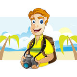 Backpacker. A Backpacker is putting on the backpack and is holding a camera Royalty Free Stock Images