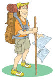 Backpacker. An standing Backpacker illustration. For your outdoor design Stock Image