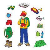 Backpacker and accessories set isolated  illustration Royalty Free Stock Image